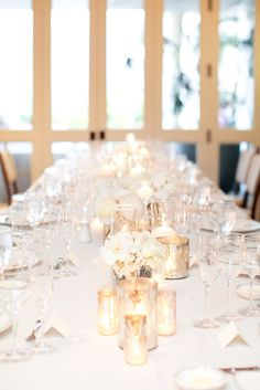 Simple elegant Champagne-White-Silver-Wedding-Reception-Tablescape