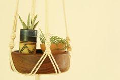 #Macrame Plant Hanger. Teak Bowl in Macrame. Air by #fallandFOUND