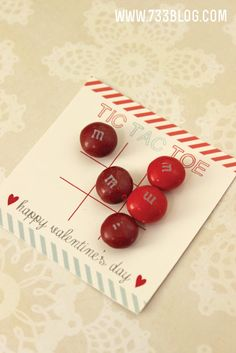 Tic Tac Toe Valentine ~ Free Printable, Clear Cellophane Bags, M & M's, Tic Tacs, Spree, Skittles... any other smaller candies work perfectly!