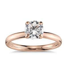 Monique Lhuillier Amour Solitaire Engagement Ring in 18k Rose Gold