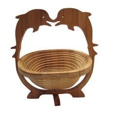AUCH Folding&Collapsible Bamboo Basket Expandle Fruit Bowl Flat Fruit Stores Holder/Dish/Container, Dolphin Pattern