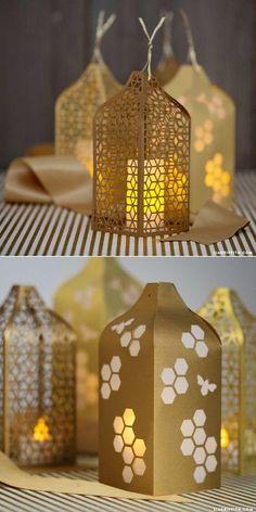 Make an Upcycled Cardboard Lantern Cardboard boxes Art deco and Box