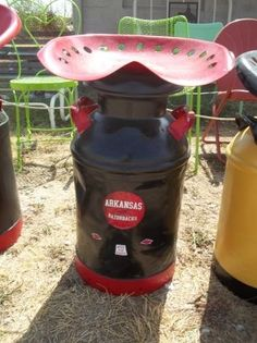Arkansas Razorbacks milk can chair with tractor seat