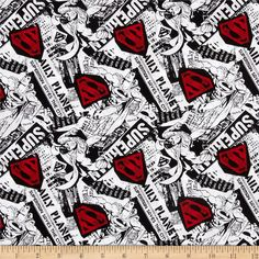Superman News Black/White/Red from @fabricdotcom  Licensed by DC Comics, this cotton print fabric is perfect for quilting, apparel and home decor accents. Colors include red, white and black. This is a licensed product and not intended for commercial use.