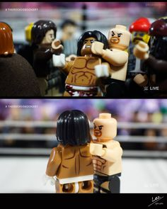 """WrestleLegoMania  Falls Count Anywhere/The Rock vs Booker T - Part 5 of 7  [Jim Ross] """"The Rock and Booker T are fighting in the crowd. The Rock now throws some guy's soda to Booker T followed by a huge chop and a knee. The are now back outside the ring. Snap suplex on the concrete floor and now The Rock throws Booker into the ring."""" [The King] """"Get up Booker T get up!"""" [Jim Ross] """"The Rock gets back into the ring grabs Booker by the hair to stand him up and...Rock Bottom Rock Bottom! A…"""