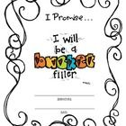 "A ""Bucket Filler Promise"" for students to fill out...."