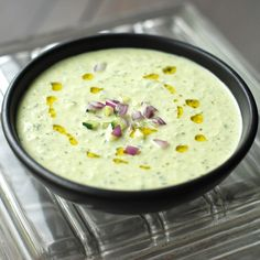 This cool, refreshing cucumber soup from Andrew Zimmern gets tang and creaminess from Greek yogurt and big, summery flavor from lots of fresh herbs.