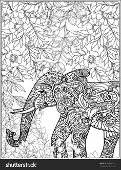 Elephant In Forest Coloring Book For Adults Shutterstock 479380714