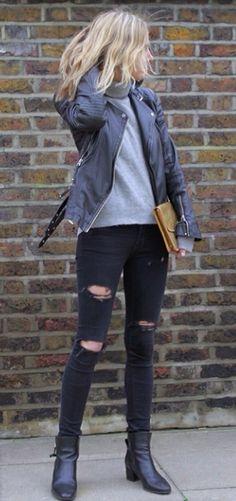 turtleneck + black skinnies + leather jacket + black boots