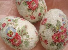 I remember making eggs like these as a child with paper napkins, glue and clear glitter...