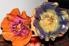 Vinyl record flowers. Think I'd do it without painting them to see how they look. I could always add paint later.