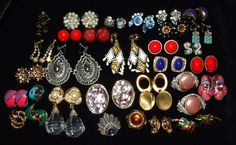 Vintage lot of clip on earrings some signed 33 by RetroRecyclables, $40.00