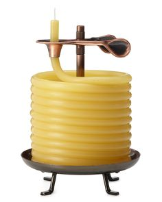 60 HOUR CANDLE. $18.00-$30.00 The 100% beeswax candle coil is fed in small increments through the candle clip - simply advance more candle as it burns. A three-inch section burns for approximately an hour, while the smart design ensures a better use of wax than traditional shapes