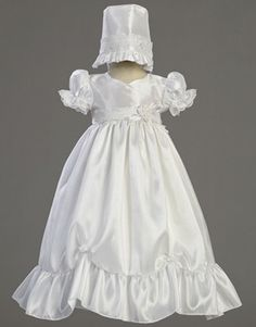 Farrah Taffeta Christening Gown with Lace Accent by MollysHanger.com. A truly elegant white taffeta gown that is perfect for a Baptism, Christening or Dedication ceremony.