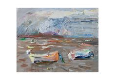 Two Boats  Original Plein Air Seascape by AnnaFineArtStudio