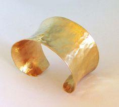 Gold Cuff Bracelet Modern Jewelry Hammered Brass by SeventhWillow