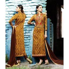 Musturd Cotton Casual Churidar Kameez With Dupatta - TheEthnicWear