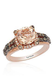 Le Vian® 14k Strawberry Gold® Peach Morganite™, Chocolate Diamond®, and Vanilla Diamond® Ring...