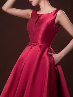 Wine Red Plunge Neck Bowknot Waist Lacing Back Prom Skater Dress from Midnight Bandit. Saved to Dresses.