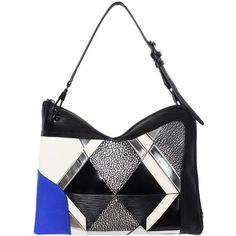 3.1 Phillip Lim Axial Patchwork Clutch (11 660 UAH) ❤ liked on Polyvore featuring bags, handbags, clutches, zipper handbag, genuine leather purse, zip purse, zipper pouch and zipper purse