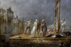 Detail of a Late 18th Century French oil on panel of Marie Antoinette at the guillotine.