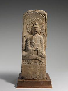 Stele with Buddha Maitreya. Northern Wei Dynasty. Dated 933. Limestone. Metropolitan Museum of Art