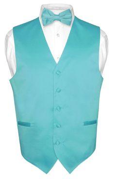 Mens Dress Vest BOWTie TURQUOISE AQUA BLUE Bow Tie Set for Suit or Tuxedo 3XL