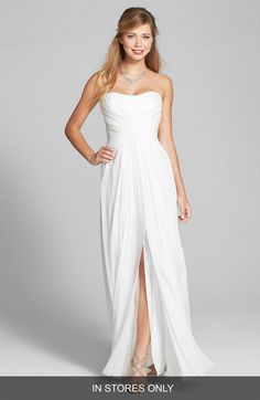 BLISS+Monique+Lhuillier+Cross+Draped+Silk+Chiffon+Dress+(In+Stores+Only)+available+at+#Nordstrom