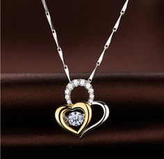 Beautiful S925 Necklace with Micro Pave Zirconia Heart Pendant