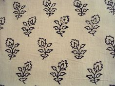 Beige and Black Cotton hand block printed in India