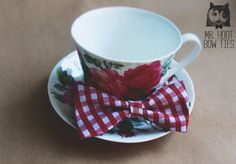 The ''picnic one'' cotton x Bow Ties, Tea Cups, Picnic, Cotton Fabric, Bows, Tableware, Metal, Unique, Handmade