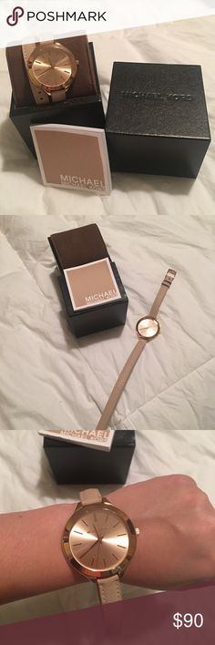 Michael Kors Rose Gold & Pink Watch In new condition :) was traded, and I loved but I need to declutter my closet and I have a few watches already! The previous seller kept it in beautiful condition, and I hate to give up. Warn a few times, and it is a wrap around watch! Beautiful ballerina pink leather straps with rose gold metal.  Michael Kors Accessories Watches