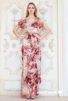 Платье в пол из натурального шелка. Handmade.