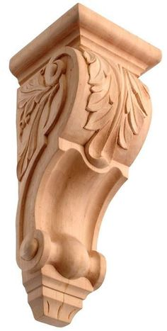 X - Extra small scrolled acanthus leaf woodcraft corbel - Corbel Place Kitchen Island Corbels, Kitchen Cabinets, Wood Projects, Woodworking Projects, Woodworking Workshop, Woodworking Shop, Steinmetz, 3d Cnc, Carving Designs