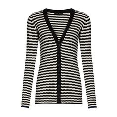Proenza Schouler Striped V-neck silk and cashmere-blend cardigan (37.505 RUB) ❤ liked on Polyvore featuring tops, cardigans, black stripe, cardigan top, layered tops, layering cardigans, v-neck tops and stripe cardigan