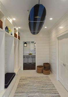 Perfect use of shiplap and what a light fixture.  by Nina Liddle Design