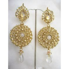 BEAUTIFUL GOLD TONE POLKI  DANGLER  Bollywood  EARRINGS