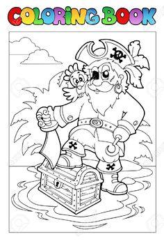 Libro Para Colorear. Pirata con un pie sobre el cofre del tesoro y el sable. Para pintar, colorear. Coloring Book.