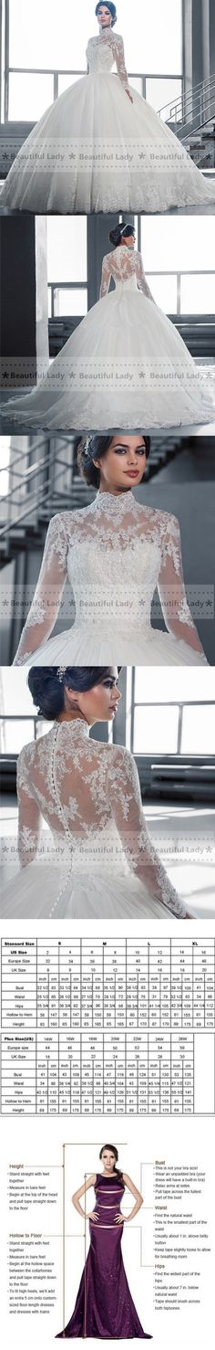 Elegant Hijab Wedding Dress 2016 High Neck Long Sleeve Sheer Lace Ball Gown Bridal Gowns See Through Sexy Wedding Dresses $195