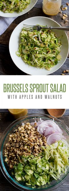 Shaved Brussels Sprout Salad with Apples and Walnuts