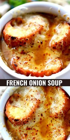 French Onion Soup, you won't find a better recipe than this, ENJOY! Easy Soup Recipes, Crockpot Recipes, Dinner Recipes, Homemade Soup, Homemade French Onion Soup, French Onion Soups, Homemade Croutons, Soup And Sandwich, Soup And Salad
