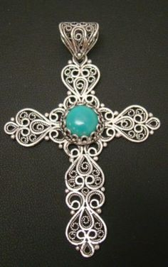 925-STERLING-SILVER-QVC-ARTISAN-CRAFTED-FILIGREE-3-X-2-CROSS-PENDANT-TURQUOISE