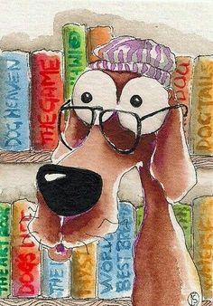 Uhhhhhh ... Watercolor Animals, Watercolor Cards, Watercolor Paintings, Mundo Animal, Whimsical Art, Caricatures, Dog Art, Animal Drawings, Cute Art
