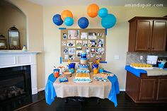 ocean themed FIRST birthday party: goldfish crackers, bucket and shovel to serve snack foods...etc