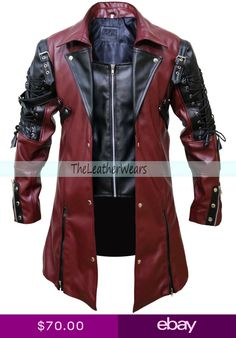 LKT Mens Black and Red Pure Leather Goth Matrix Trench Coat Steampunk Spooky Stylish Design