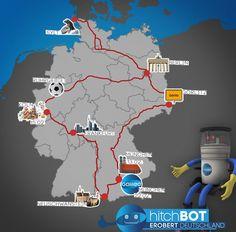 er reiselustige Roboter Hitchbot trampte bereits durch Kanada: Per Anhalter legte er so über 6.000 Kilometer zurück. Nun ist er vom 13 bis 22. Februar auf großer Deutschlandreise!