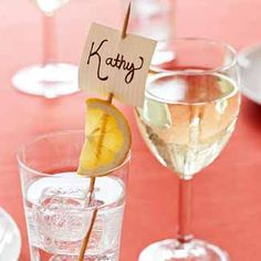 For your next dinner party, try this trick to mark guests' seats: Spear place cards onto wooden skewers atop lemon slices, then park them in glasses as you set the table.