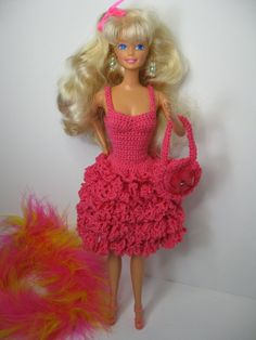 New Blond Barbie Doll plus hot pink handmade crochet outfit.   #Mattel #DollswithClothingAccessories