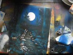 Spray paint art tutorial - moonlit forest