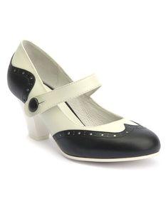 Look at this #zulilyfind! White & Black Eyelet Elsie Leather Mary Jane by Lola Ramona #zulilyfinds